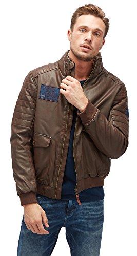 TOM TAILOR für Männer Leather Blouson in Leder-Optik after dark brown L (- Dark Faux-pelz Brown)