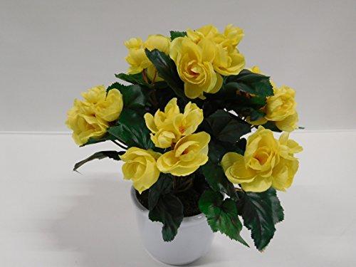 Begonie Kunstblume Seidenblume Kunstpflanze gelb 32 cm getopft 513592-G1 F72