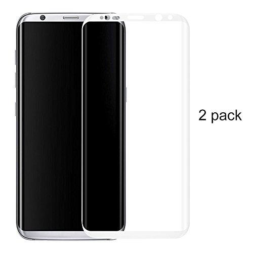 Preisvergleich Produktbild (2 Pack)Samsung Galaxy S8 Panzerglas - 3D Premium Full Coverage Gehärtetem Glas Schutzfolie Displayschutzfolie Panzerglas für Samsung Galaxy S8 - Weiß