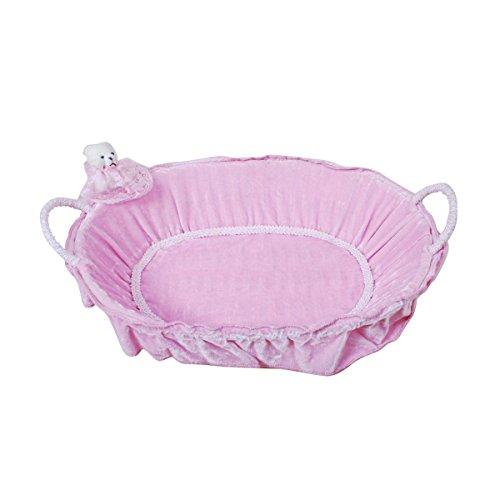 Velvet & Paper Oval Shaped Pink Teddy Basket by Triveni