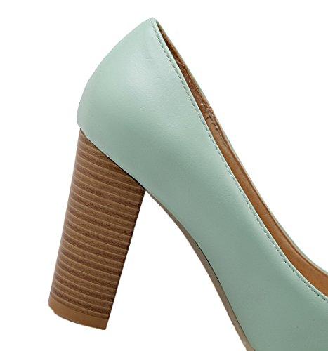 Pelle Tira Scarpe In Alto Di Colore Pu Tacco Voguezone009 Luce Blu Solido Donna S0qRawS