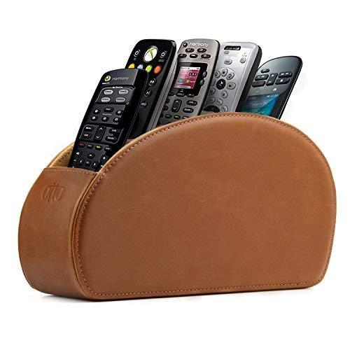 Londo Fernbedienungshalter mit 5 Taschen - Platz für DVD, Blu-Ray, TV, Roku oder Apple TV Fernbedienungen - Leder mit Wildleder Futter - für die Aufbewahrung im Wohn- oder Schlafzimmer - Hellbraun - Halter Uhr Stift