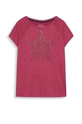 edc by ESPRIT Damen T-Shirt Rot (Plum Red 5 609)