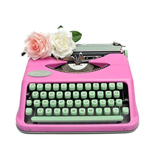 Schreibmaschine Hermes | pink mit mintgrüner Tastatur | mechanische Schreibmaschine | vintage Rockabilly Dekoration | 50s