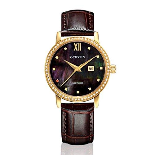 XINLEE Damenuhr Zeiger Display Diamant wasserdichtem Leder Gürtel Quarzuhr, 003 (Gurt Braun Seiko Uhr)