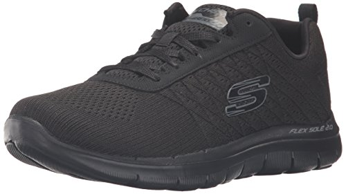 Skechers Flex Appeal 2.0-Break Free, Damen Outdoor Fitnessschuhe,Schwarz (BBK), 35.5 EU