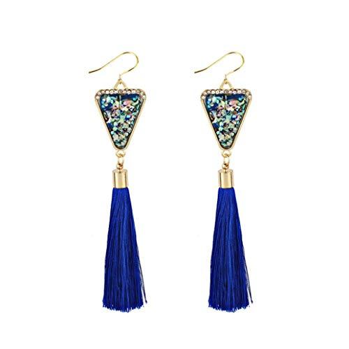 Fossrn Pendientes Mujer Flecos Largos Bohemios Rhinestones de estilo Aretes Joyería de moda (Azul)