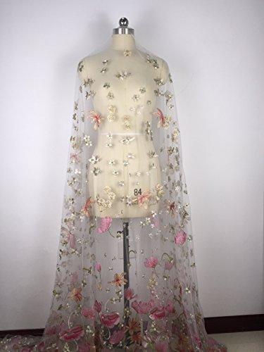 (Floral Stickerei Net Stoff für Haute Couture Breite 155cm verkaufen Pro Meter versandkostenfrei rose)