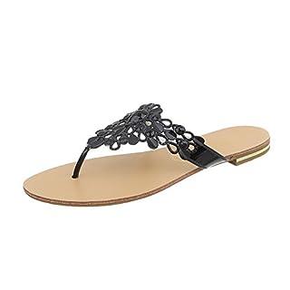 Bequeme Damen Sandalen Zehentrenner Glitzer Metallic Komfort-Sandalen Kork Bequem Strand Schnallen Schuhe 117152 Gold 37 Flandell d9bTFNKhee
