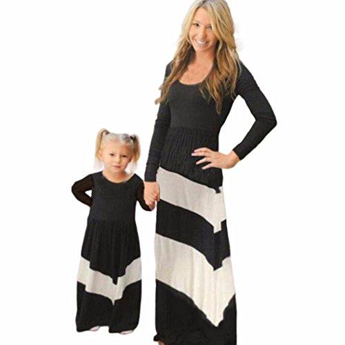 Xmansky Tochter Streifen Stitching Kleid Beiläufig Familie Kleider Mädchen Kleid (3Jahre) (Out Of Print Kostüm Muster)