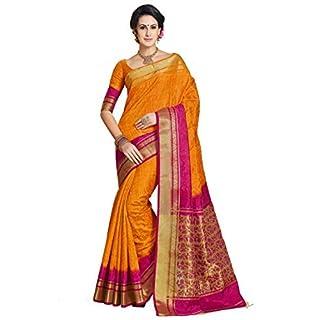 Ashika Shaded Orange Woven Tussar Jacquard Brasso Banarasi Saree for Women with Blouse Piece
