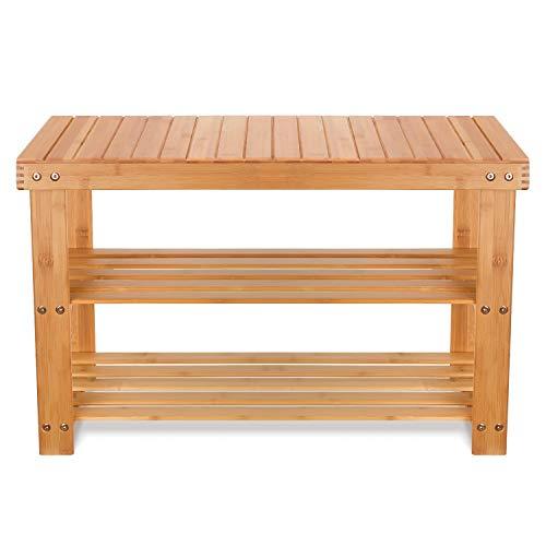 Einfache Holzbank (Homfa Bambus Sitzbank mit Schuhregal 3 Ablage 70x28x45cm Schuhschrank Schuhbank Flur Badregal Schuhaufbewahrung Schuhablage bis 120KG belastbar)