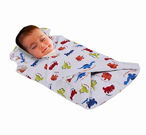 Joysleep Love2Sleep Pucktuch mit gepolstertem Kissen, Baumwolle, sehr weich, für 0-4 Monate, Motiv Dinosaurier