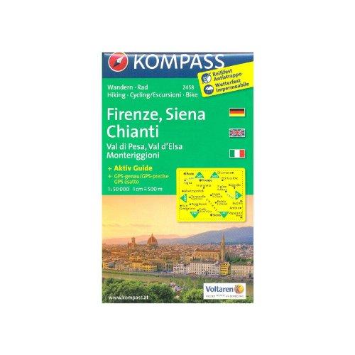 Florence, Sienne, Chianti (Toscane, Italie) 1:50.000 carte de randonnée topographique KOMPASS # 2458 par KompassMaps