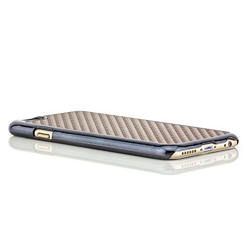 Saxonia® iPhone 6 / 6S Hülle Case Schutzhülle Cover Slim Design in Carbon-Optik Braun Braun