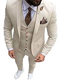 YSMO Herren Slim Fit 3 Stück Anzüge Jacke   Pants   Weste Hochzeit Blazer f31e34828e