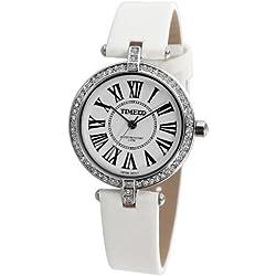 Time100 Women's 30mm White Satin Band Metal Case Quartz Analog Watch W50043L.01A