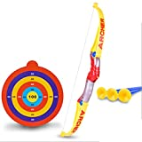FOKOM Kinder Bogenschießen Schießspiele Target Set: Bogen + Zielscheibe mit 3 Pfeilen