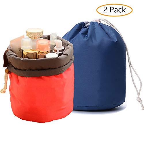 GCOA 2 Stück Kosmetiktasche,Reise-Fass Kosmetikbeutel Makeup Bag Wasserdicht Große für Frauen und Mädchen(Rot und Blau)