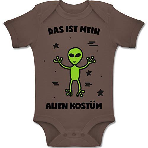 Karneval und Fasching Baby - Das ist Mein Alien Kostüm - 12-18 Monate - Braun - BZ10 - Baby Body Kurzarm Jungen Mädchen (Aliens Kostüm Mit Baby)