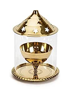 Wacky Brass Golden Akhand Diya Small (7. 5 X7. 5 X 10. 5 CM)