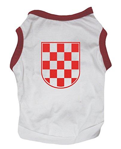 Petitebelle Kroatien Thema Rot Weiß Karierte Flagge Puppy Hund Baumwolle Shirt (Flagge Shirts Karierte)