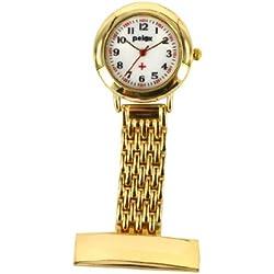 PELEX Metal Gold Coloured Nurse Watch Doctor Paramedic Tunic Brooch Watch Men's & Ladies