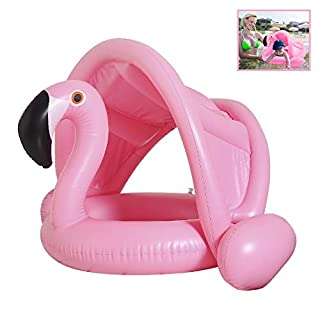 Qilerongrong Baby Flamingo Inflatable Pool Float with Sun Canopy- Inflatable Baby Infant Flamingo Swim Ring Pool Float Perfect for Summer Play Pool Toys for Baby