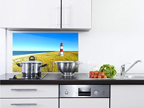 GRAZDesign Rückwand Küche Sylt - Küchen Spritzschutz Herd Landschaft - Küchenrückwand Glas Natur / 100x60cm / 200155_100x60_SP
