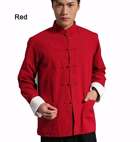 ZooBoo Chinesische Kung-Fu Herrenkleidung Oberhemd - Traditionelle Chinesische Tangzhuang Kostüme der Kampfkunst Kung Fu für Männer Langärmelige Jacke Bekleidung aus ()