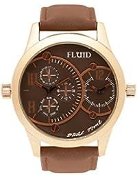 Fluid Analog Gold Dial Men's Watch-FFL-1141-BR