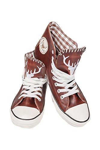 Krüger - Herren Trachtenschuhe -Sneaker- im modernen Trachten-Look in Braun, Wildfang (Artikelnummer: 9008-7), Größe:44, Farbe:Braun