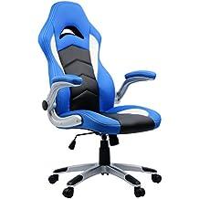 Umi Sedia Gaming Ufficio da Scrivania Poltrona Ergonomica Sedie da Gaming (Blu)