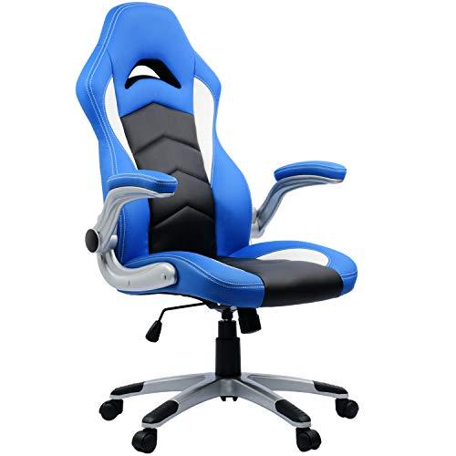 Gamer Stuhl Bürostuhl Racer Stuhl Chefsessel blau schwarz