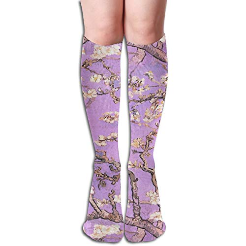 Stocking Vincent Gogh Branches Of An Almond Tree In Blossom ~ Lavender Multi Colorful Patterned Knee High Socks 19.6 Inchs ()