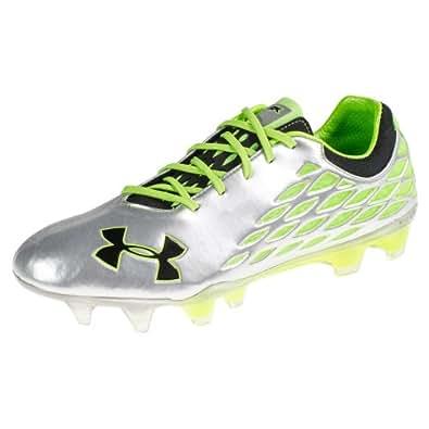 UA 10K Force II FG Football Boots Metallic Silver/Filament Green - size 13