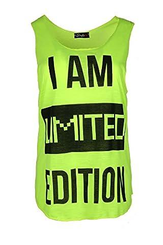 Women Ladies Sleeveless Slogan I Am Limited Edition Gym Edge Jersey Vest Tee Top