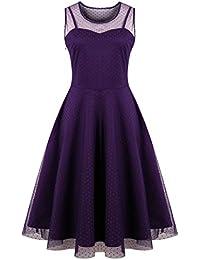 KILOLONE Damen Plus Size Kleid 1950er Cocktailkleid Jahrgang Kleider  Spitzenkleid Langarm Knielang Rockabilly Kleid S- e227647698