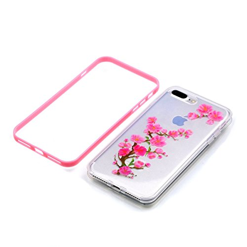iPhone 8 plus 2-in-1 (Tpu silicone Custodia e PC Frame)Transparente Cover, iphone 7 plus Cover Puro, Ekakashop Moda Disegni Vintage Elegante Colorate Ultra Slim Sottile Morbida Soft TPU Silicone Clear Prugna Fiore