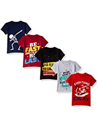 ESNINO Boys' Cotton T-Shirt (Pack of 5)