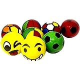 Shunkk™ (Pack Of 8) Soft Foam Sponge Balls - Light Weight- Kids Toys - 10 Cm Diameter - ( Smiley, Football, Multi Color Printed)