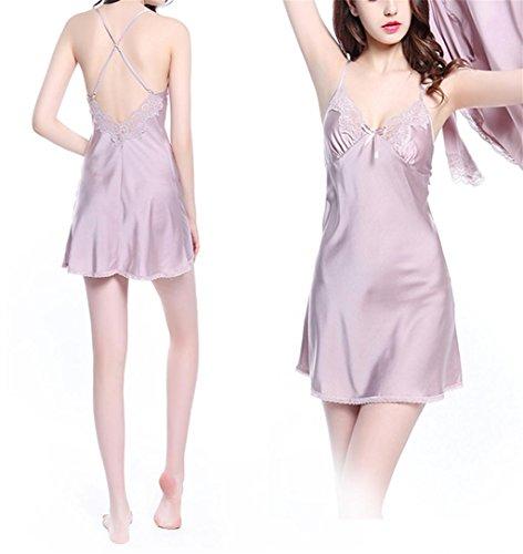Marcus R Caveggf Damen Sexy Satin Kleider Kleider Brautjungfer Kimonos Nachtwäsche Robes 2 Stücke, 160 (m) -