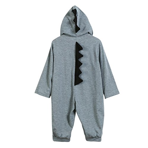 LCLrute New Mode Lovely Newborn Infant Baby Girl Dinosaurier Kapuzenjacke Overall Outfits Kleidung (80, Grau)