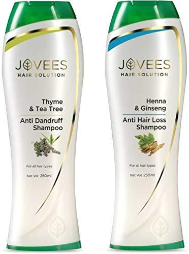 Jovees Harble Thyme and Tea Tree Anti Dandruff/Hair Loss Henna Ginseng Shampoo (500 ml, Pack of 2)