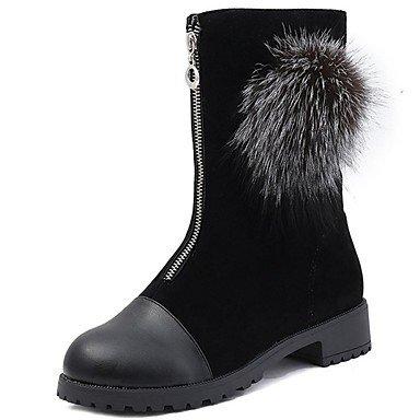 Inverno Zipper Boots Scarpe Calf EU36 Nabuck Per Pelle 5 Tallone CN35 Punta Donna Scamosciata Pom Pom Stivali Comfort Stivali Chunky Mid US5 UK3 RTRY Floccaggio Pu Tonda Moda 5 0UdHxqwq