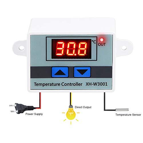 BESTOPSEL Mikrocomputer Digital LED Temperaturregler Thermostat Steuerschalter + Sonde 220V 10A