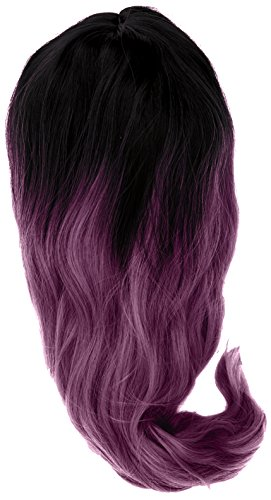 amback Medium Länge Dye dunklen Wurzeln Cosplay Halloween Perücke für Frauen gelockt Welle Haar Perücken Kappe/Taro Lila RF11