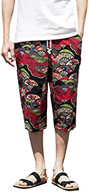 Sumwind Men's Harem Cotton Linen Pants Wide-leg Plus Size Ethnic Loose Cropped Trou