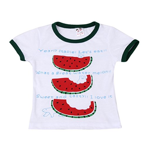 JERFER Kind Jungen Mädchen T-Shirt Sommer Drucken Wassermelone Shirt 2-7 Jahre (Weiß, 3-4Y)