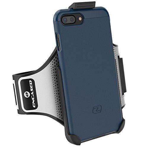 iPhone 7 Plus Armband Gym Kit, (Click-N-Go) Workout Armband + Sport Case (2 pc set) By Encased (Rose Gold) Deep Blue